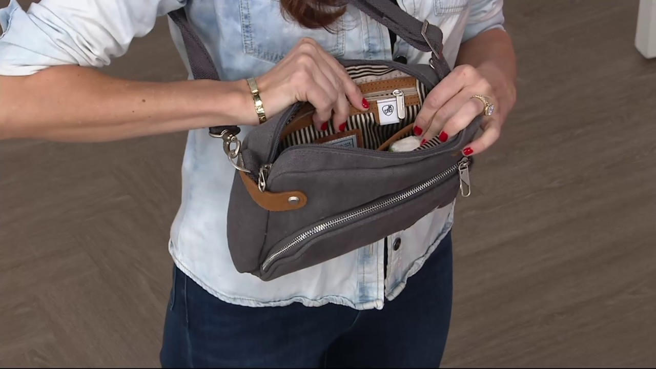 c201388e6b4 Travelon Anti-Theft Heritage Canvas RFID Crossbody Bag on QVC - YouTube