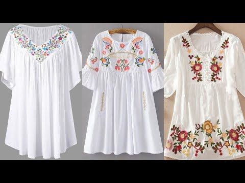 most beautiful and stylish multicolor embroidered tunic top and shirt design for women