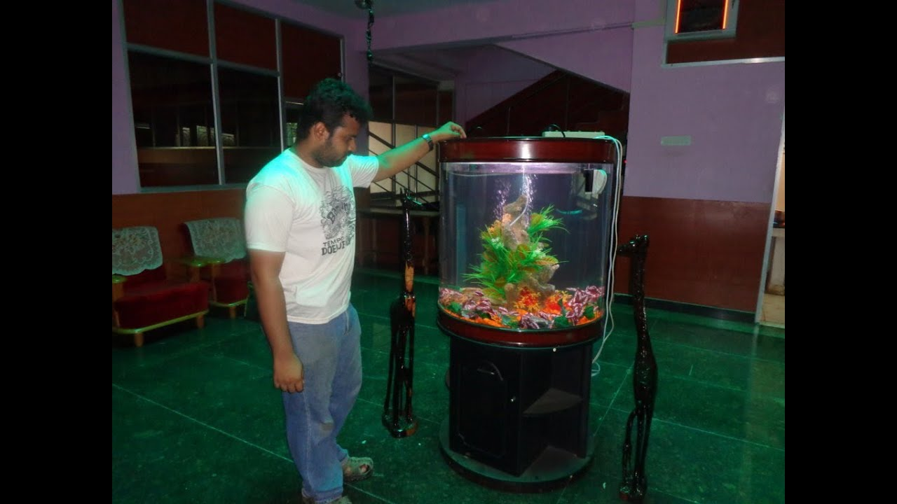 Aquarium fish tank in chennai - Cylindrical Aquarium Designed By Mazhar 91 9094959626