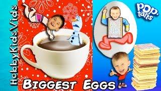 World's Biggest Chocolate! Poptart Surprise Egg Mix + Poptart Challenge, Toy Review Fun HobbyKid