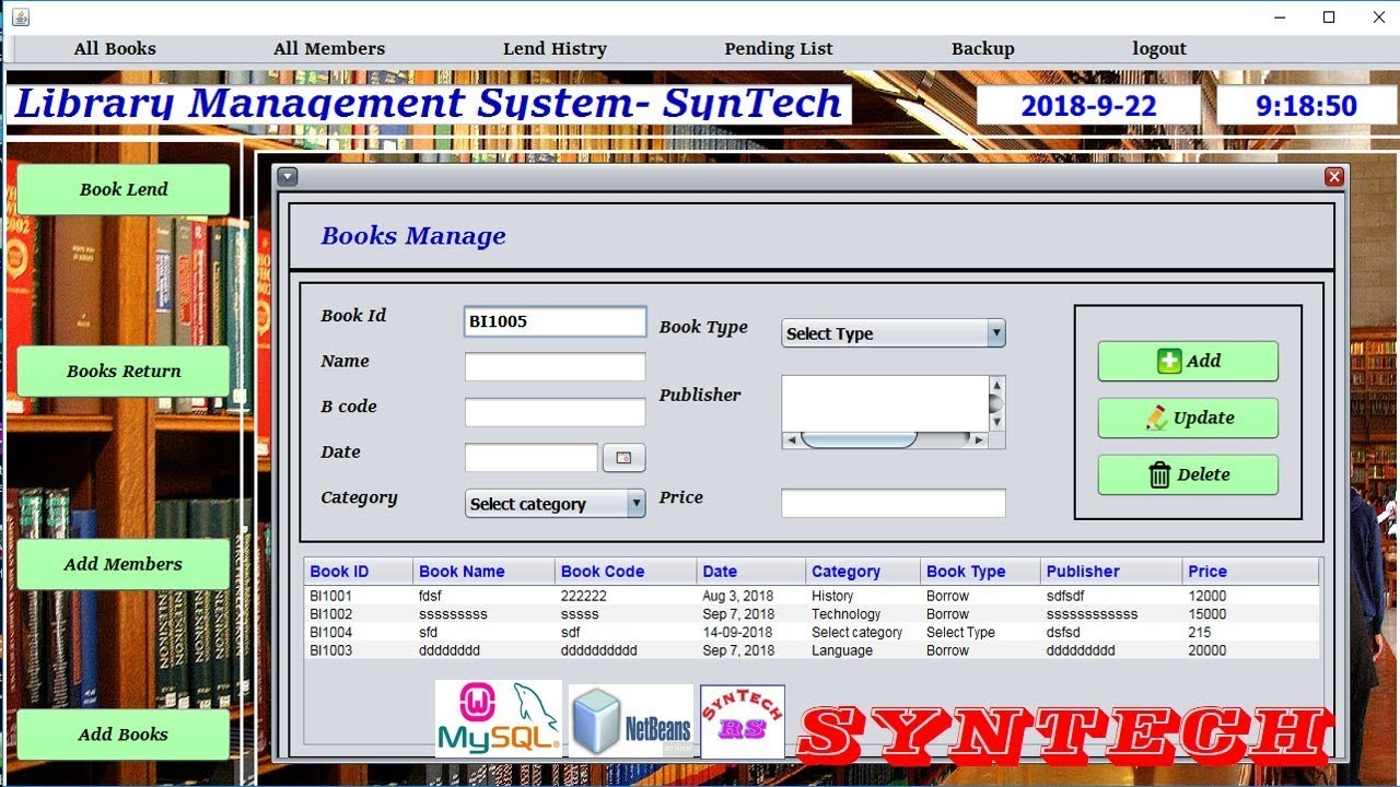 library management system project in java netbeans, mysql wth source code