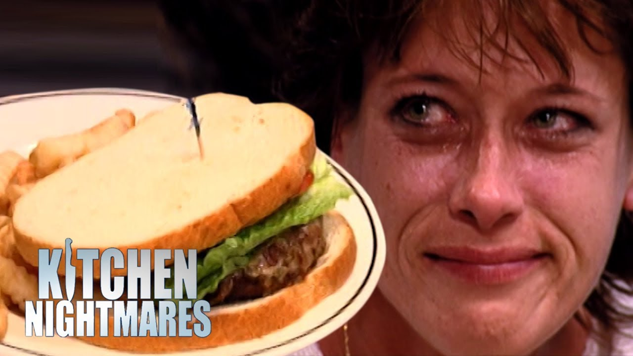 Customer starts to cry after being served shambolic burger for Kitchen nightmares burger kitchen
