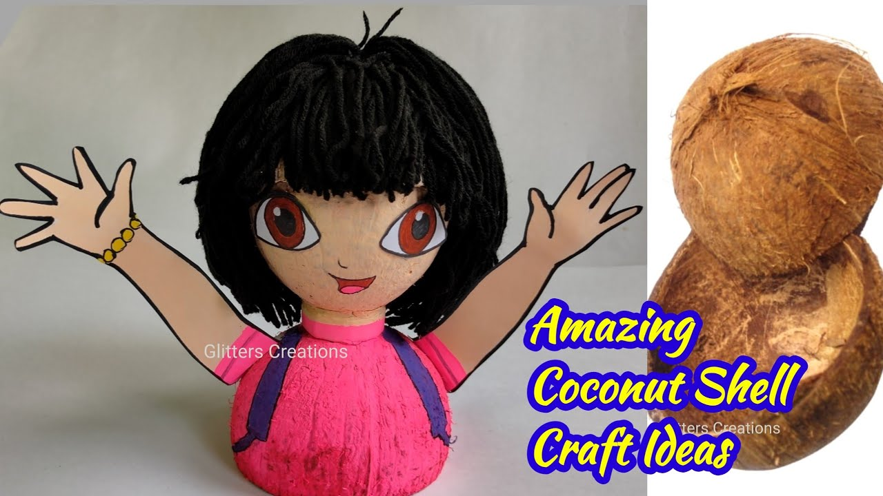 Coconut Shell craft ideas/How to make a Doll (Dora)/coconut shell wall hanging/coco shell painting