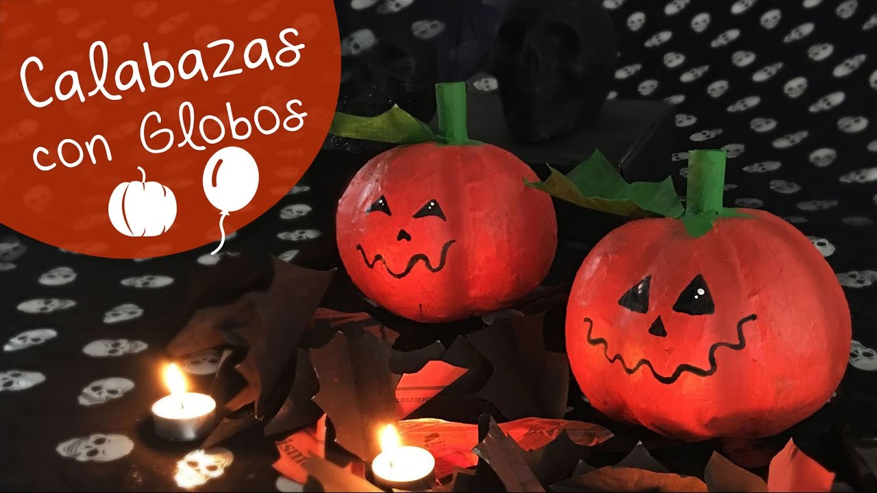 Calabazas con globos halloween diy decoraci n de for Decoracion de halloween