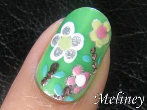 Spring Flower Nail Art Tutorial , Pretty Green Design for Short Nails Home  Made DIY Easy Simple