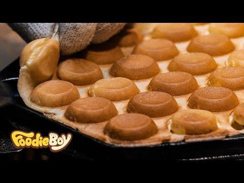 Honeycomb&Whipped Egg Waffle / Busan Korea / Korean Street Food / 생크림 벌집 에그와플 / 부산 깡통야시장 길거리 음식