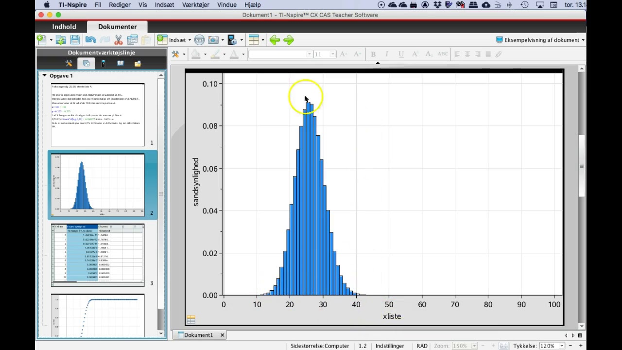 Binomialtest Nspire - forklaring