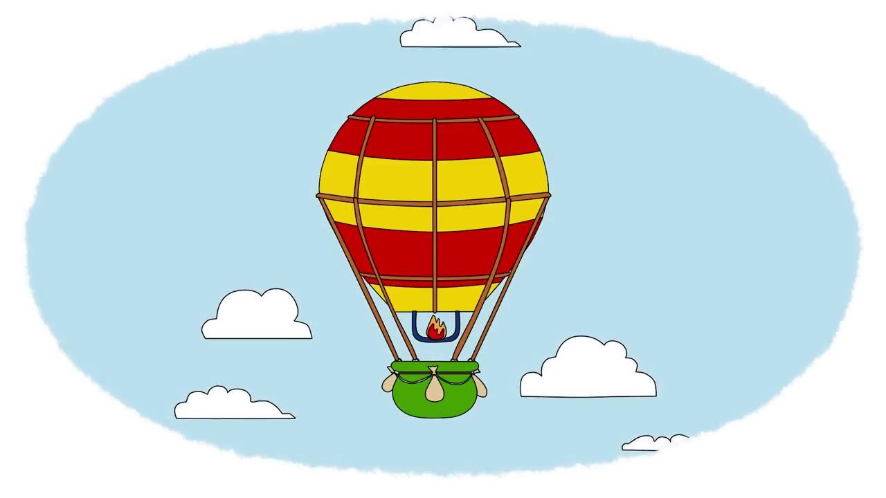 Мультик Раскраска. Учим Цвета. паровозик, воздушный шар ...
