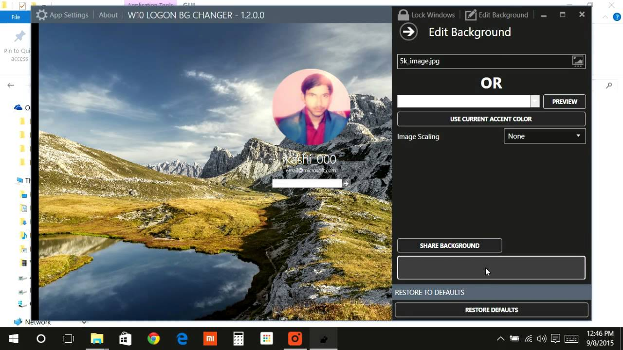 how to change windows 10 logon background