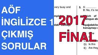 AÖF İngilizce 1 Final - 2016-2017 Güz Çıkmış Soru Çözümleri