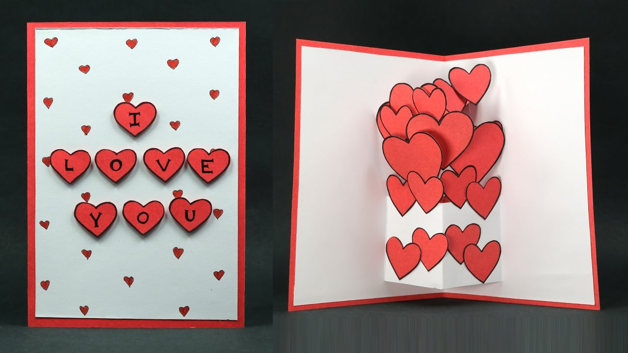Ordinary Love Card Making Ideas Part - 8: DIY Valentine Card - Pop Up Heart U0027I Love Youu0027 Card Making Step By Step -  YouTube