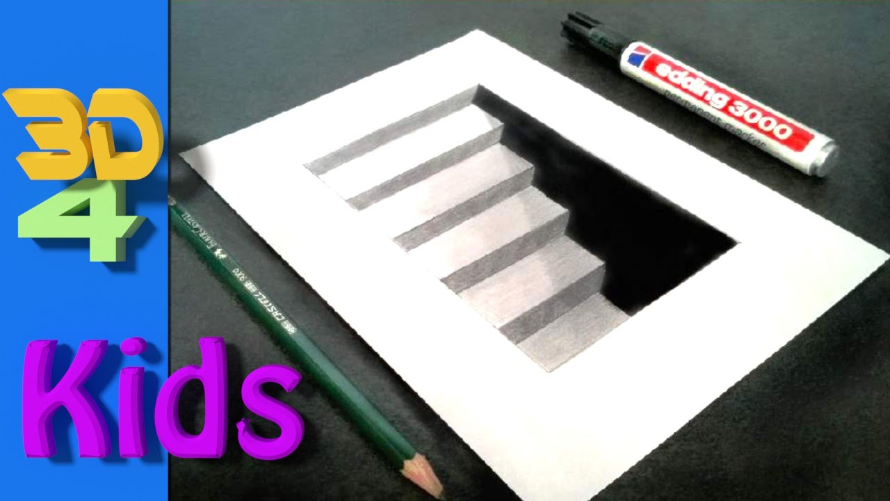 Wow Step By Step Drawing Easy 3d Cellar Stairs