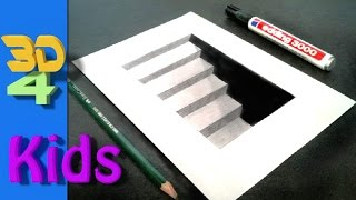 Wow! step by step drawing! easy 3D CELLAR STAIRS