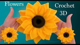 Como hacer girasoles en 3D a Crochet en punto tunecino tejido tallermanualperu