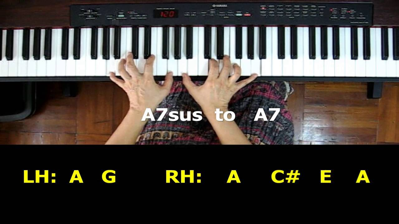 Piano chords a7 sus chord moving to a7 sounds youtube hexwebz Images