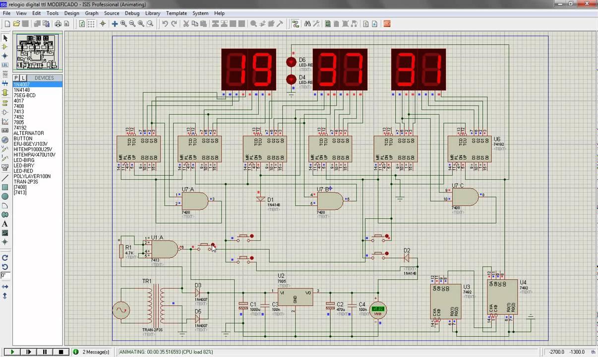 Montando Um Relógio Digital Em Proteus