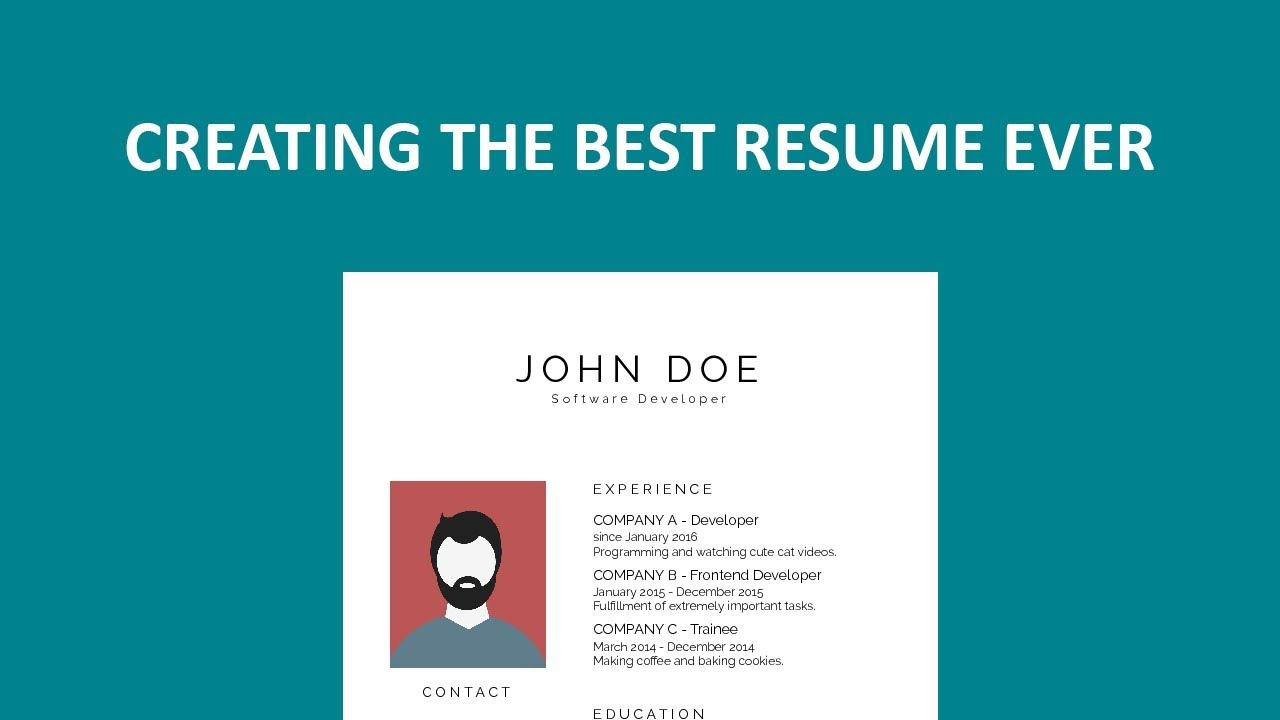 creating the best resume ever youtube