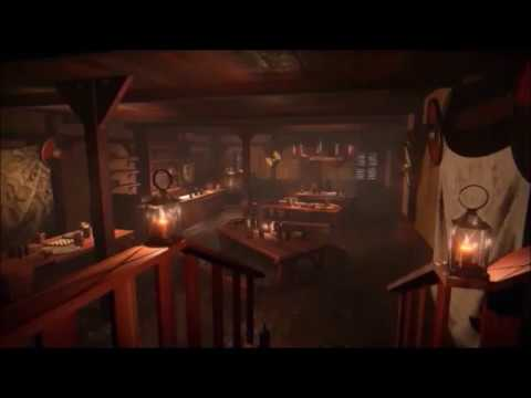 Busy Revolutionary Tavern Ambience 1HR Fireplace + Drinking Songs + Chatter