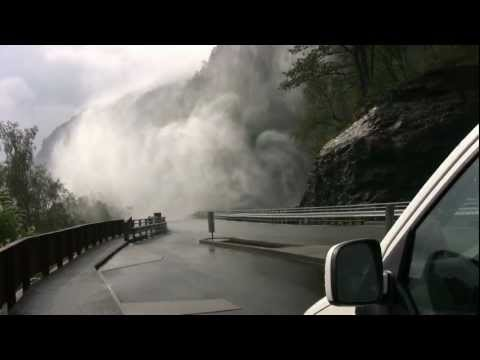 great waterfall over the road called Svandalsfossen near Sauda in Norway (video by ben&hanny)