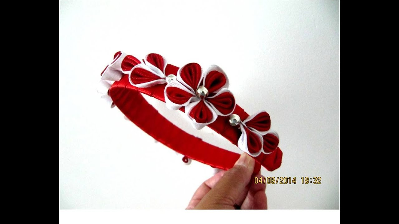 Florecillas kanzashi ramilletes diademas en cintas para el - Material para hacer diademas ...