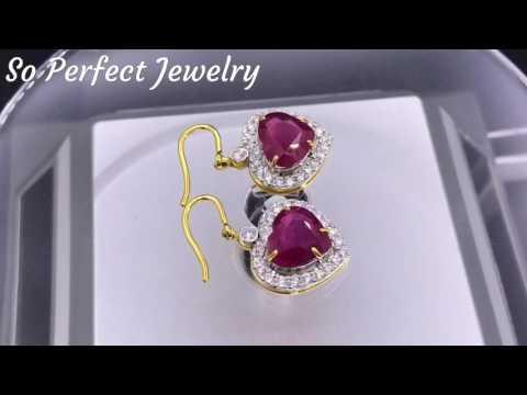 LOVELY 5.59TCW RUBY & Diamonds 18k Solid Gold Earrings Drop Dangle Heart Natural
