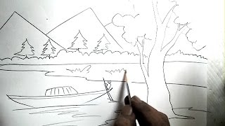 How To Draw A Scenery Boat In River Pencil Drawing