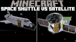 Minecraft SPACE SHUTTLE HOUSE VS SATELLITE HOUSE MOD / SPAWN HOUSES AND LIVE IN THEM !! Minecraft