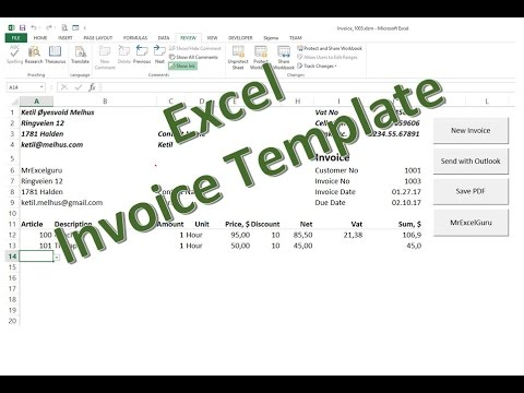 Excel in English Free Excel Invoice Template - send as PDF - YouTube