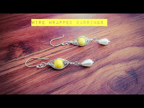 wire wrapped jewelry/making simple and easy wire wrapped pearl drop earrings/diy earrings