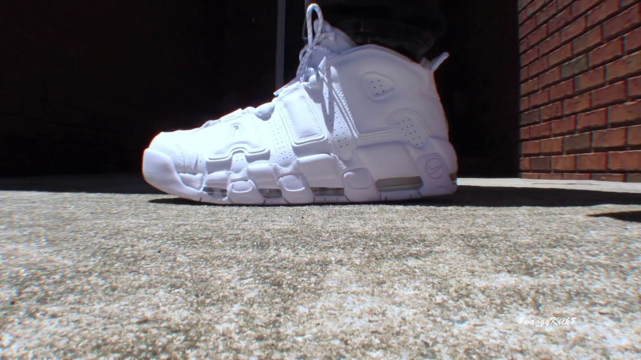NIKE AIR MORE UPTEMPO TRIPLE WHITE ON FEET - YouTube 70b51f220