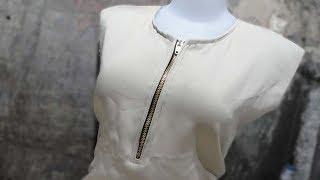 tutorial menjahit gamis leher bundar dengan bukaan resleting jeans