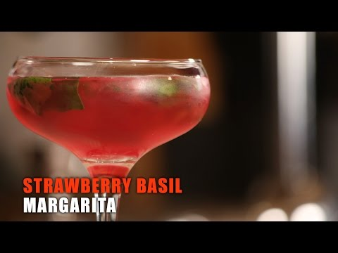 Strawberry Basil Margarita | House Party Drink | Tequila Cocktail