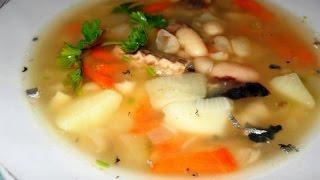 Суп фасолевый с рыбными консервами  Украинская кухня