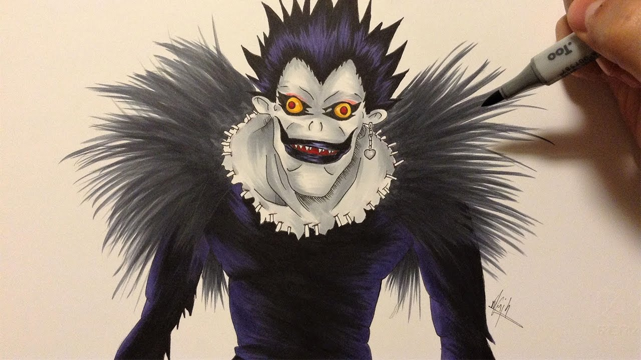 Drawing Ryuk from Death Note - YouTube