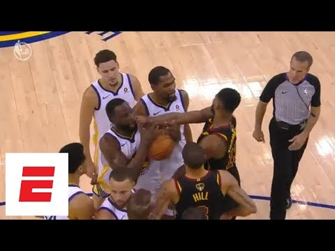 tristan thompson gets ejected then gets into it with draymond green at end of game 1 espn