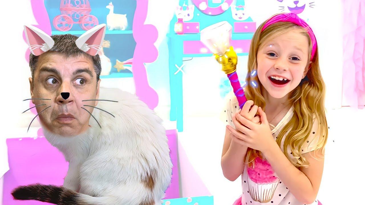 Nastya et Maggie et l'histoire de la baguette magique pour les enfants