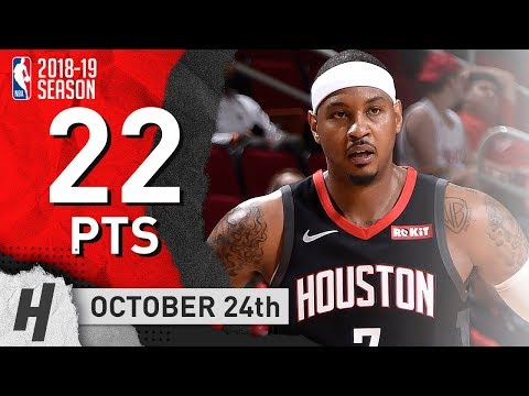 Carmelo Anthony Full Highlights Rockets vs Jazz 2018.10.24 - 22 Points off the Bench