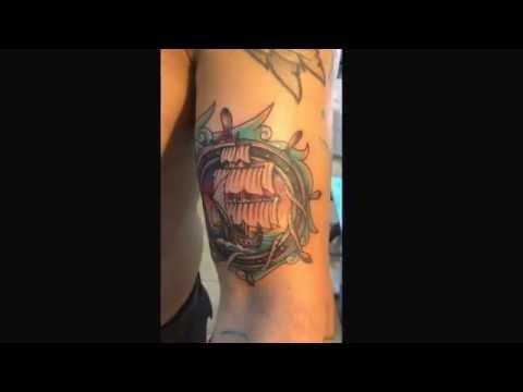 Custom ship tattoo by H at Rock Star Tattoo, Piercing & Laser Tattoo Removal www.rockstarhawaii.com