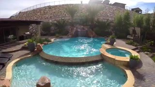 Infinity pool grotto rock slide - Blue Haven Pools - Las Vegas