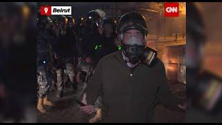 مراسل CNN وسط مظاهرات عنيفة بمنطقة الحمرا في بيروت