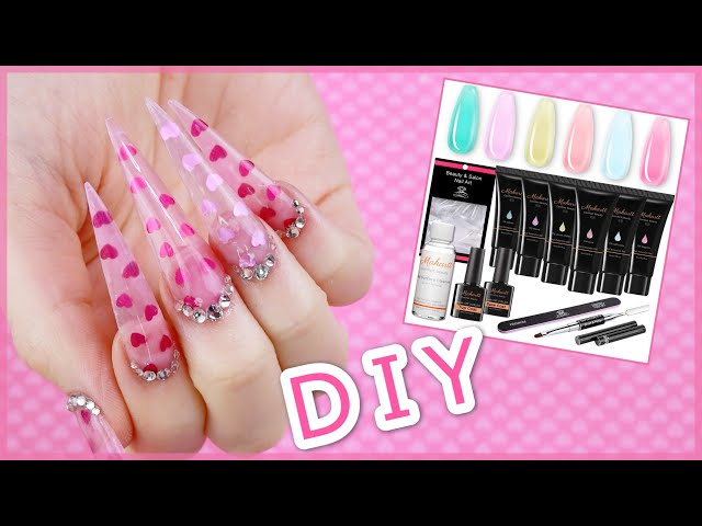 Valentines Day Nails Using A Jelly Polygel Kit