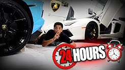 24 HOUR OVERNIGHT CHALLENGE IN A LAMBORGHINI DEALERSHIP!! (they caught me)