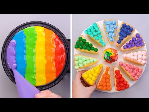 Amazing Rainbow Waffle Decorating Tutorials | Simple Colorful Cake Decorating Ideas For You'll Love