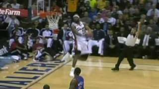LeBron James ridiculous head at the rim alley oop against New York Knicks 3/1/10 - LeBron alley oop