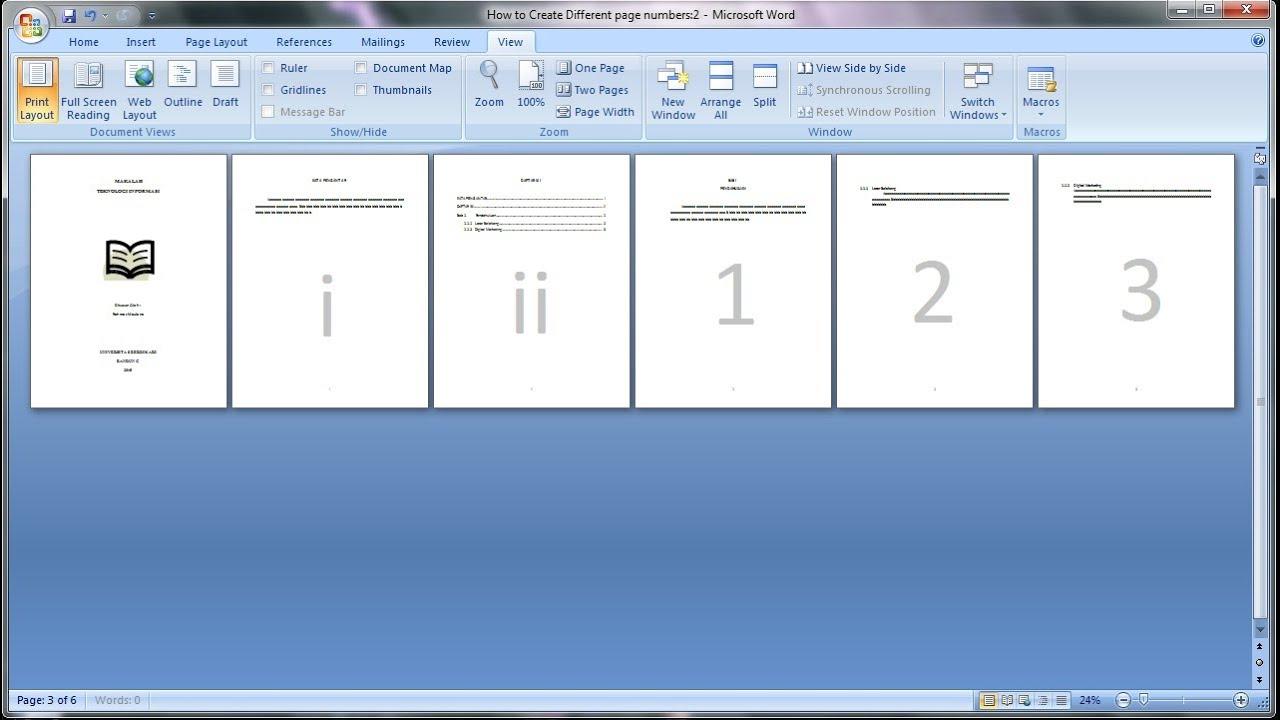 Belajar Microsoft Word 2007 Cara Membuat Page Number Atau Nomor Halaman Makalah Berbeda Youtube