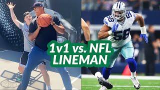 1v1 Basketball vs. NFL LINEMAN! 175 Pounds vs. 275 Pounds!!