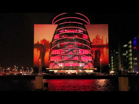 Fly Emirates Building Projection, Dublin Launch, The Convention Centre Dublin