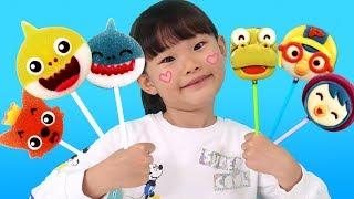 상어가족 젤리와 뽀로로 초콜릿으로 핑거패밀리 어린이 율동동요를 하다!  finger family Song