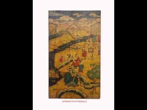 Tibetan Antique Village Living Painting Door Screen Panel WK2586