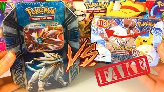 $2 FAKE 2018 Pokemon Tin VS $20 REAL 2017 Pokemon Tin!! (WHATTT???)